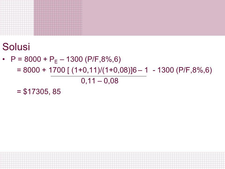 Solusi P = 8000 + PE – 1300 (P/F,8%,6) = 8000 + 1700 [ (1+0,11)/(1+0,08)]6 – 1 - 1300 (P/F,8%,6) 0,11 – 0,08.